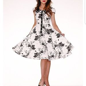 Black and White Floral Swing Dress